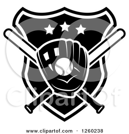 Clipart of a Black and White Baseball in a Mitt over Crossed Bats and a Shield - Royalty Free Vector Illustration by Vector Tradition SM