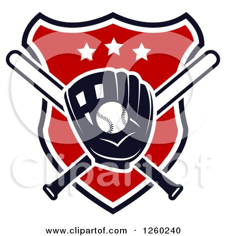 Clipart of a Baseball in a Mitt over Crossed Bats on a Shield - Royalty Free Vector Illustration by Vector Tradition SM