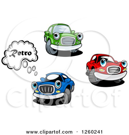 Clipart of Red Green and Blue Car Characters - Royalty Free Vector Illustration by Vector Tradition SM