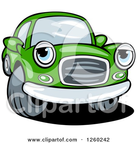 Clipart of a Green Car Character - Royalty Free Vector Illustration by Vector Tradition SM