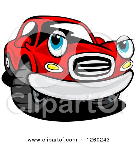 Clipart of a Red Car Character - Royalty Free Vector Illustration by Vector Tradition SM