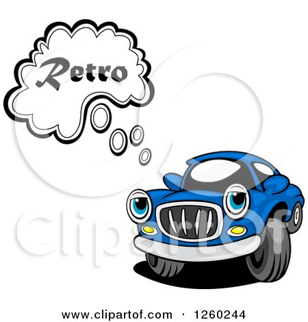 Clipart of a Blue Car Character Thinking Retro - Royalty Free Vector Illustration by Vector Tradition SM