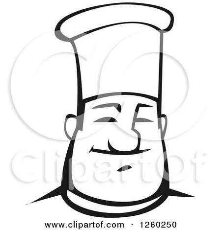 Clipart of a Black and White Happy Male Chef - Royalty Free Vector Illustration by Vector Tradition SM