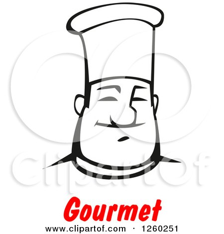 Clipart of a Black and White Happy Male Chef over Red Gourmet Text ...