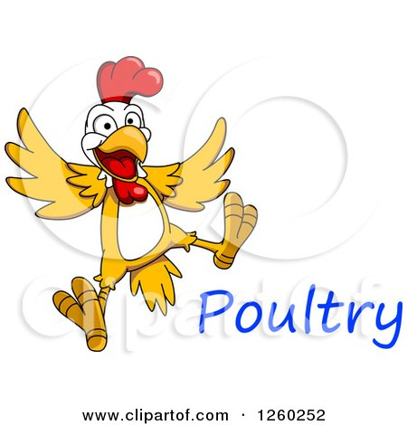 Clipart of a Jumping Chicken with Text - Royalty Free Vector Illustration by Vector Tradition SM