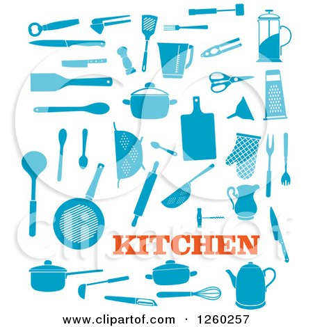 Clipart of Blue Kitchen Accessories - Royalty Free Vector Illustration by Vector Tradition SM