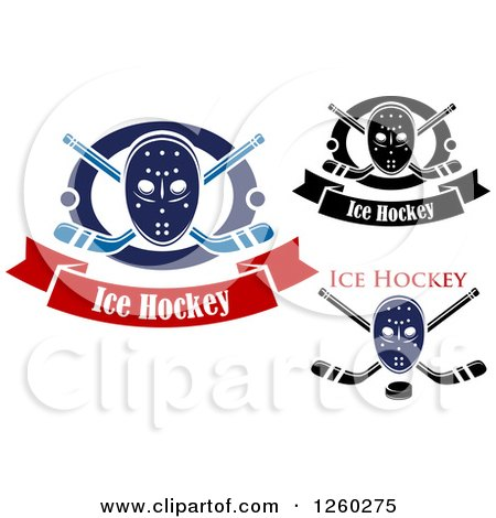 Clipart of Hockey Masks with Sticks and Pucks - Royalty Free Vector Illustration by Vector Tradition SM