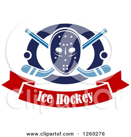 Clipart of a Hockey Mask over Crossed Sticks and Pucks in a Ring Above a Text Banner - Royalty Free Vector Illustration by Vector Tradition SM