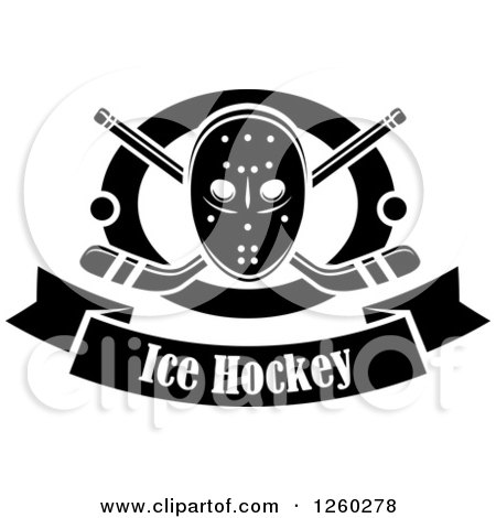 clipart of a black and white hockey mask over crossed. Black Bedroom Furniture Sets. Home Design Ideas