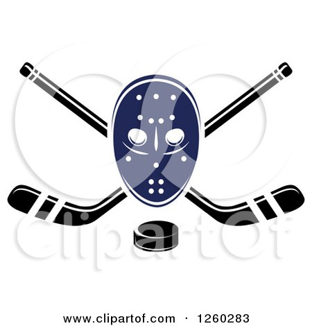 Clipart of a Hockey Mask over Crossed Sticks and a Puck - Royalty Free Vector Illustration by Vector Tradition SM