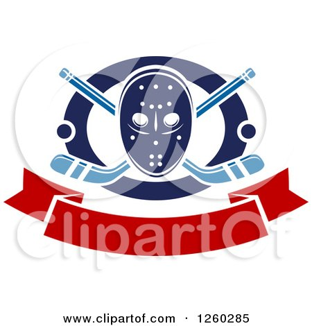 Clipart of a Hockey Mask over Crossed Sticks and Pucks in a Ring Above a Blank Banner - Royalty Free Vector Illustration by Vector Tradition SM
