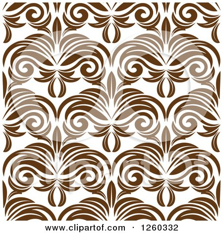 Clipart of a Seamless Pattern Background of Brown Vintage Floral - Royalty Free Vector Illustration by Vector Tradition SM