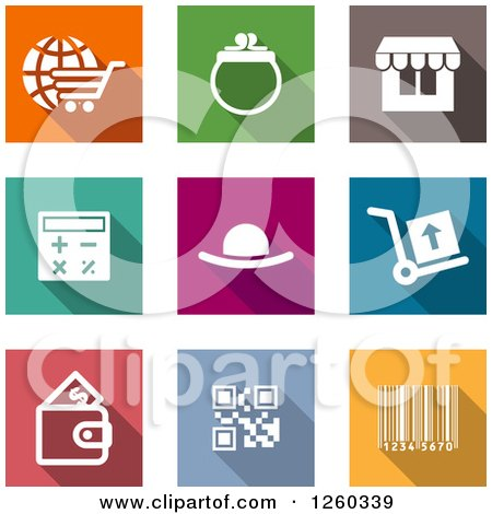 Clipart of Square Colorful Internet Shopping and Finance Icons - Royalty Free Vector Illustration by Vector Tradition SM