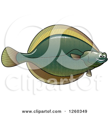Clipart of a Happy Flounder Fish - Royalty Free Vector Illustration by Vector Tradition SM