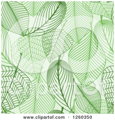 Clipart of a Seamless Background Pattern of Green Skeleton Leaves - Royalty Free Vector Illustration by Vector Tradition SM
