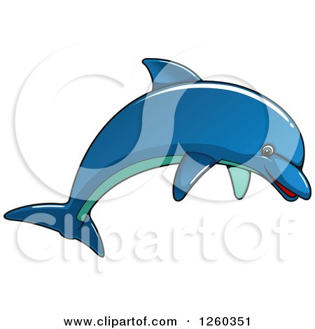 Clipart of a Blue Dolphin Jumping - Royalty Free Vector Illustration by Vector Tradition SM