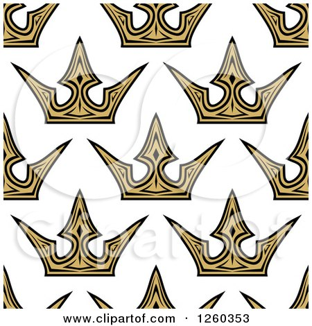 Clipart of a Seamless Background Pattern of Gold Crowns - Royalty Free Vector Illustration by Vector Tradition SM