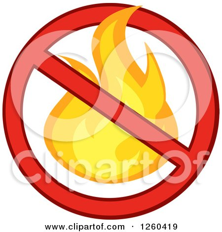 Clipart of a Fire in a Prohibited Symbol - Royalty Free Vector Illustration by Hit Toon