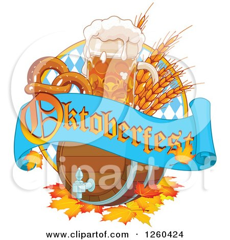 Clipart of a Beer Keg, Mug Wheat and Soft Pretzel with an Oktoberfest Banner - Royalty Free Vector Illustration by Pushkin