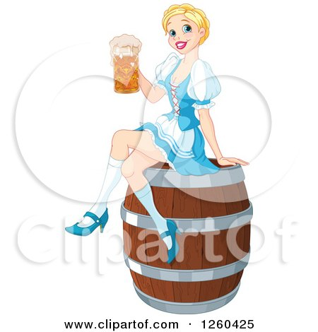 Clipart of a Happy Blond Oktoberfest Beer Maiden Woman Sitting on a Keg Barrel - Royalty Free Vector Illustration by Pushkin