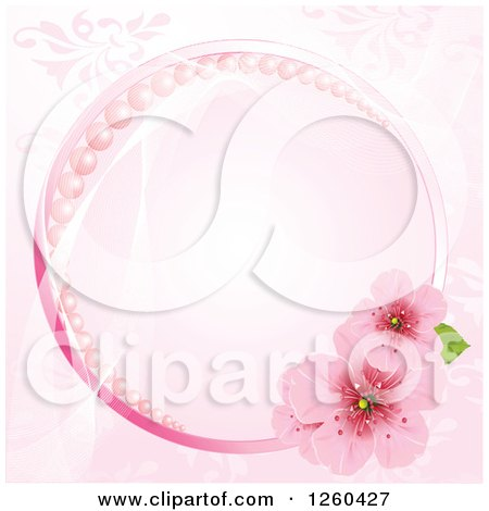 Clipart of a Pink Round Frame with Pearls and Cherry Blossoms over a Floral Pattern - Royalty Free Vector Illustration by Pushkin