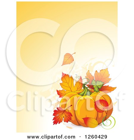 Clipart of a Thanksgiving Background with a Pumpkin and Autumn Fall Leaves over Text Space - Royalty Free Vector Illustration by Pushkin
