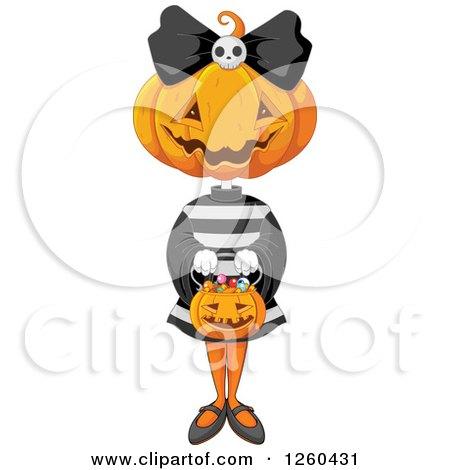 Clipart of a Jackolantern Halloween Pumpkin Girl Trick or Treating - Royalty Free Vector Illustration by Pushkin