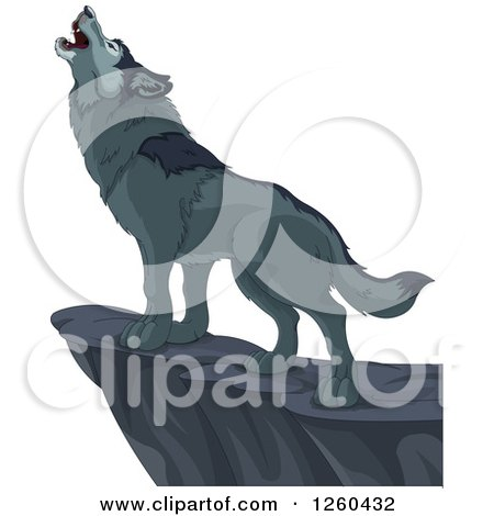 Clipart of a Gray Wolf Howling on a Cliff - Royalty Free Vector Illustration by Pushkin