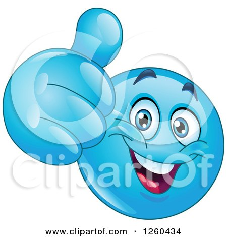 Clipart of a Happy Blue Emoticon Smiley Face Holding a Thumb up - Royalty Free Vector Illustration by yayayoyo
