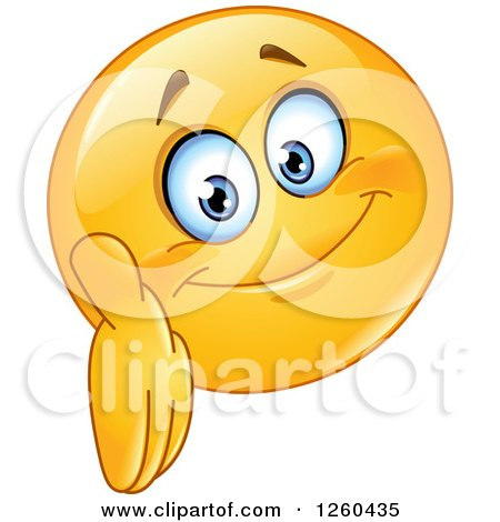 Clipart of a Friendly Emoticon Smiley Face Reaching out to Shake Hands - Royalty Free Vector Illustration by yayayoyo