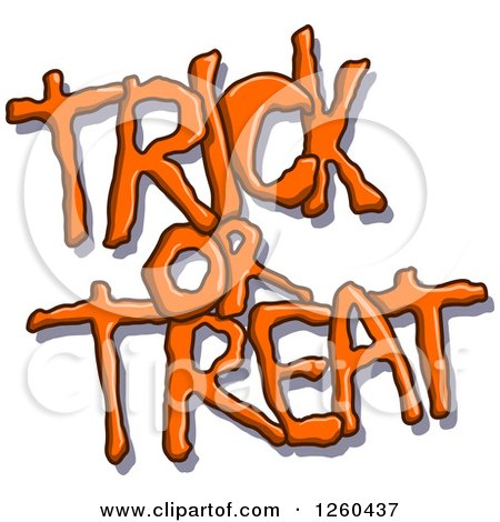 Clipart of Orange Halloween Trick or Treat Text with a Shadow - Royalty Free Vector Illustration by yayayoyo