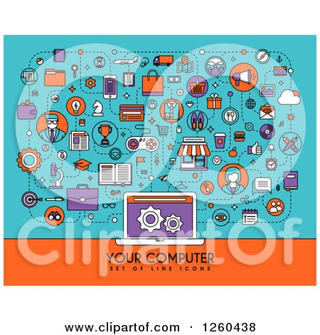 Clipart of Icons Connected to a Laptop with Your Computer and Sample Text - Royalty Free Vector Illustration by elena