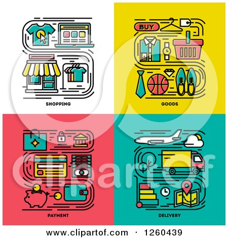 Clipart of Shopping, Goods, Payment, Delivery Icons - Royalty Free Vector Illustration by elena