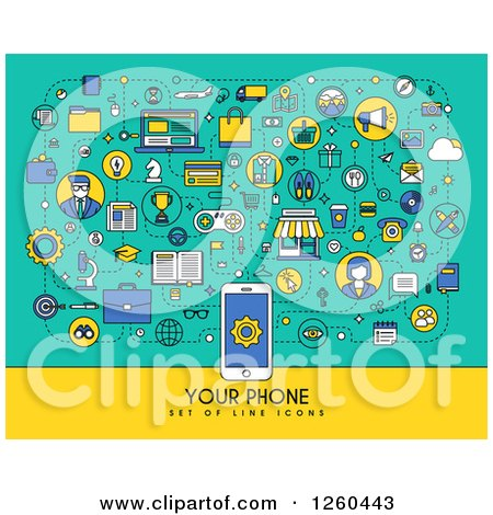 Clipart of a Cell Phone with Sample Text and Icons - Royalty Free Vector Illustration by elena