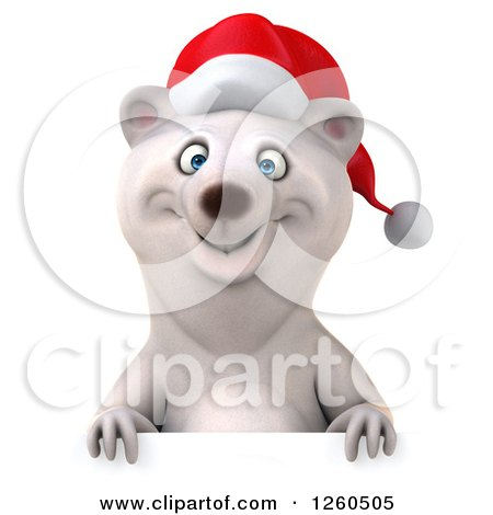 Clipart of a 3d Christmas Polar Bear over a Sign - Royalty Free Illustration by Julos
