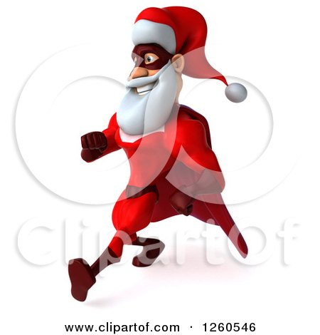 3d Super Hero Santa Speed Walking Posters, Art Prints