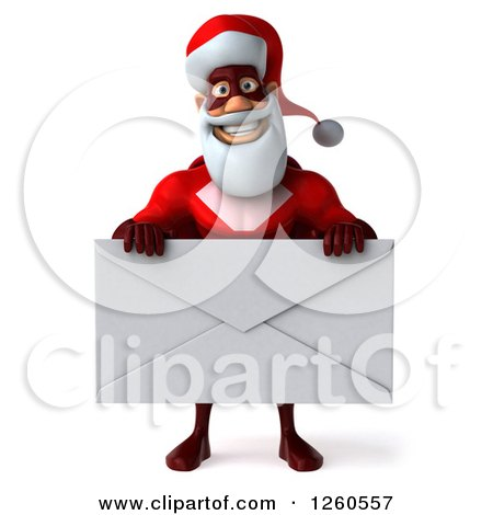Clipart of a 3d Super Hero Santa Holding a Giant Envelope - Royalty Free Illustration by Julos