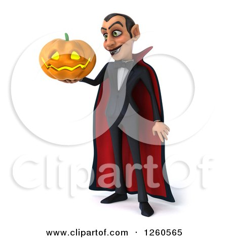 Clipart of a 3d Dracula Vampire Holding a Jackolantern Halloween Pumpkin - Royalty Free Illustration by Julos