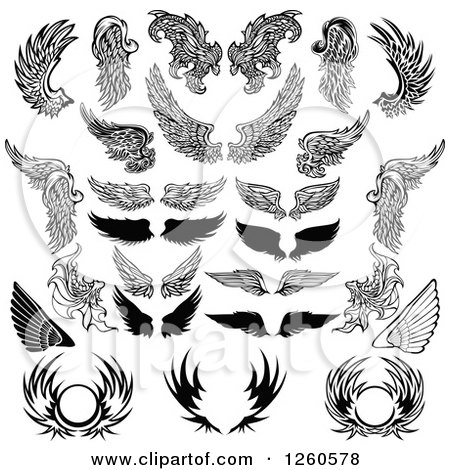 Clipart of Black and White Feathered Wings and Shields - Royalty Free Vector Illustration by Chromaco