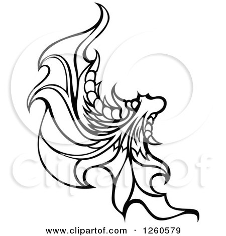 Clipart of a Black and White Fairy Wing - Royalty Free Vector Illustration by Chromaco