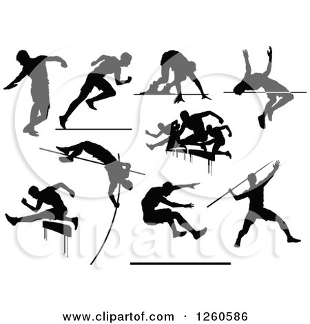 Clipart of Black Silhouetted Male Track and Field Athletes in Action - Royalty Free Vector Illustration by Chromaco