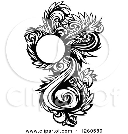 Clipart of a Black and White Ornate Floral Design Element - Royalty Free Vector Illustration by Chromaco