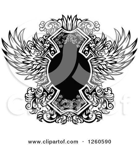 Clipart of a Black and White Ornate Winged Shield Design Element - Royalty Free Vector Illustration by Chromaco