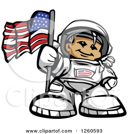 Clipart of a Proud Male Astronaut with an American Flag - Royalty Free Vector Illustration by Chromaco