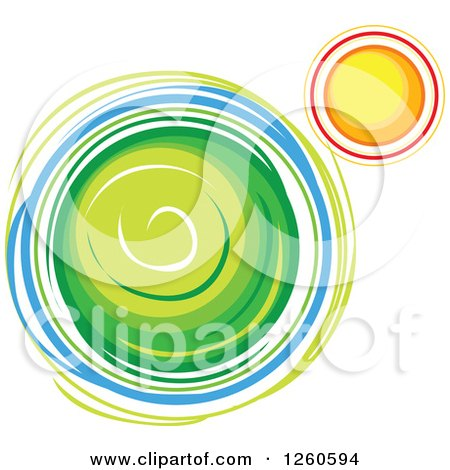 Clipart of a Green Planet and Sun - Royalty Free Vector Illustration by Chromaco