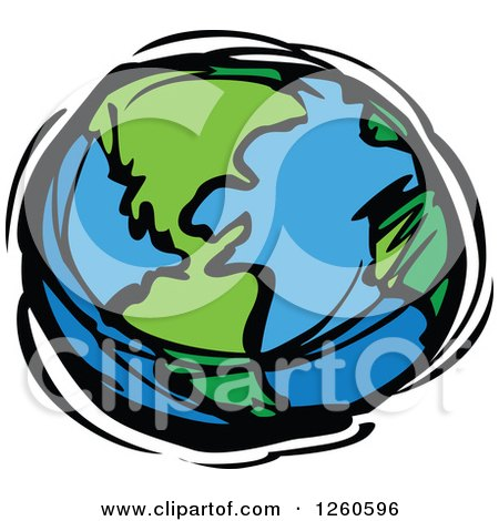 Clipart of a Sketched Planet Earth in Blue and Green - Royalty Free Vector Illustration by Chromaco