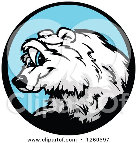 Clipart of a Smiling Polar Bear Mascot in a Blue Circle - Royalty Free Vector Illustration by Chromaco