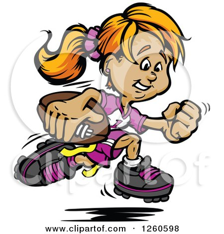 Happy Sporty White Powder Puff Girl Running with a Football Posters, Art Prints