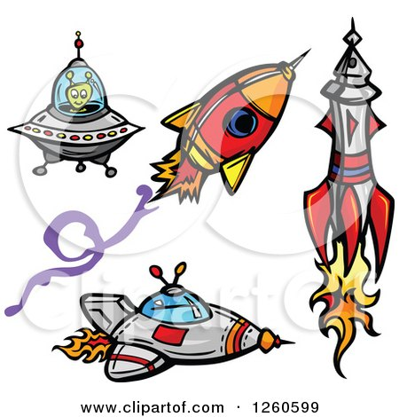 Clipart Of An Alien With Rockets And A Flying Saucer Royalty Free Vector Illustration