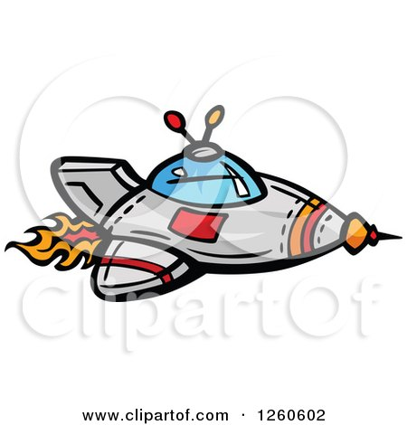 Clipart of a Rocket with Flames - Royalty Free Vector Illustration by Chromaco